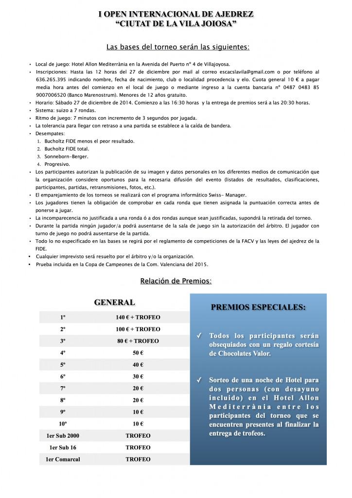 BASES I OPEN INTERNACIONAL DE AJEDREZ